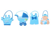 Baby Shower Decorations - Baby Boy Little Prince Baby Shower Blue Decor Treat Bags Felt Goody Bag