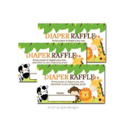 Bright Jungle Safari Baby Shower Nappy Raffle Tickets 20-pack