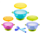 Plai Hot Safety Spoon and Fork Set & 3 Size Stay Put Spill Proof Suction Bowl with Lids - FDA Certified and BPA Free
