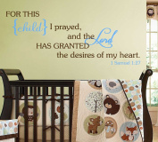 For This Child I Prayed Wall Decal Bible Scripture Christian [Brown & Baby Blue] Nursery Décor Baby Newborn Child Bedroom