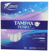 Tampax Pearl Plastic Unscented Tampons, Lites/Light Absorbency, 36 Count