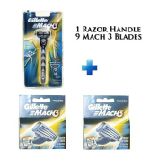Mach 3- Nine Blade Razor Shaving System- Value Pack