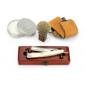 A.P. Donovan - Solid 2.2cm straight Razor - white plastic handle - Complete Set