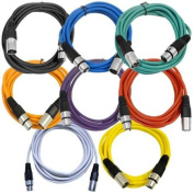 Seismic Audio - 8 Pack of Coloured 3m XLR Patch Cables - 3m Mic Patch Cords - SAXLX-10-Multi
