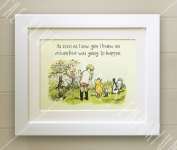 Winnie the Pooh FRAMED QUOTE PRINT, New Baby/Birth, Nursery Picture Gift, Pooh Bear, Christopher Robin, Piglet, Owl, Rabbit, As soon as I saw you I knew an adventure was going to happen