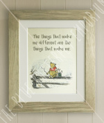 Winnie the Pooh FRAMED QUOTE PRINT, New Baby/Birth, Nursery Picture Gift, Pooh Bear and Piglet, The things that make me different are the things that make me