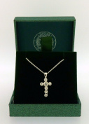 .925 Sterling Silver Pendant & Necklace Gift Boxed Cross With Stones Pendant