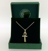 .925 Sterling Silver Pendant & Necklace Gift Boxed Worn Look Cross Pendant