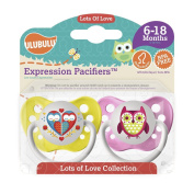 Ulubulu Pacifiers for Girls, Hearts and Owls, 6-18 months