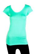 Sofra Women's Short Sleeve Solid Colour Basic T-Shirt