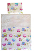 Vizaro - Quilt & pillow for Moses Basket - 100% Luxury Cotton - Little Owls Collection - Tested against harmful substances - Made in EU