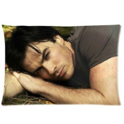 ZhouBrand The Vampire Diaries Damon Salvatore Ian Somerhalder 41cm by 60cm Zippered Cotton And Polyester Rectangle Pillowcases Protector Case