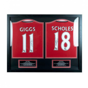 Manchester United F.c. Giggs And Scholes Signed Shirts Dual Framed Christmas Gift Idea