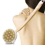 Tenflyer Detachable Curved Long-handled Bristle Detox Wooden Body Brush Skin Brush