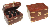 Simple Earth fragrance oil gift set with 6 of 10ml oils that are stored in a handmade rosewood / sheesham box with brass inlay