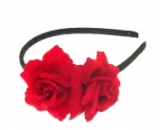 Small double red roses on a hair alice band