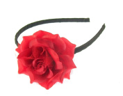 Small flat red rose on a black alice band