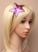 GIRLS HAIR BAND Large SEQUIN STAR Stretch Bandeaux FUNKY Headband 3 Colours