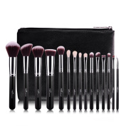 MSQ New 15pcs Professional Makeup Brushes Set Soft Goat And Synthetic Hair With PU Leather Case