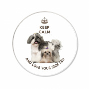 """""""Keep Calm and Love your Shih Tzu"""" unique Fridge Magnet with an image of a cute Shih Tzu dog with her puppy. 75mm diameter."""