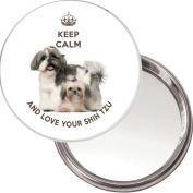 """Keep Calm and Love your Shih Tzu"" unique Compact, Makeup Button Mirror with an image of a cute Shih Tzu dog with her puppy. 75mm diameter."