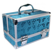 EZI Blue Aluminium Butterfly Beauty Box Cosmetic Makeup Jewellery Saloon Case # 5102140