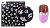 52 x White Nail Art Stickers Nail Decals Wraps Sparkly Flower Butterfly Crystal. XMAS Stocking Filler Gift