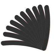 10 Pack Double Sided Grit Nail Files Banana Boomerang Emery Board Manicure Pedicure Black (10 Pcs ) by TARGARIAN