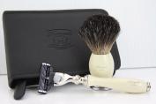 Men shaving shave kit badger hair shaving brush & Gillette mach 3 designer razor MENS CHRISTMAS XMAS GIFT WITH TRAVEL SHAVING CASE