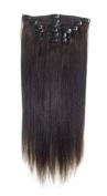 American Pride | Clip In Hair | Human Hair Extensions | Full Head | 60cm Barely Black