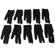 10pcs 3 Finger Elastic Nylon Billiards pool Snooker Cue Shooters Gloves