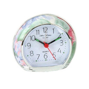 Floral Design Silent Sweep Alarm Clock Clear Arabic Numbers White Dail 9501BF