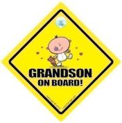 Grandson On Board Car Sign, Grandson, Grandchildren, Car Sign, Baby On Board Sign, baby on board, Novelty Car Sign, Baby Car Sign