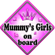 GEM JEWEL MUMMYS GIRLS Baby on Board Car Window Sign