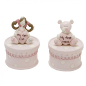 Tracey Russell Polka Dot Coll First Tooth and Curl Boxes Pink