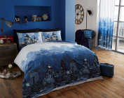 vegliatino Luxury Complete Set Bedding Duvet Quilt Cover Set Single Double & King Size London Blue King