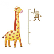 Jomoval Roommates Repositionable Childrens Wall Stickers Jungle Adventure Giraffe Growth Chart, Multi-Colour