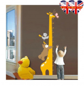 Giraffe Growth Up Chart Wall Sticker, Wall Tattoo; Unique and cute sticker for your Kids Room , stylish & perfect gifts for the
