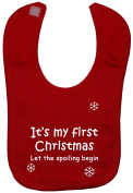 It's My First Christmas Let The Spoiling Begin Baby Feeding Bib Hook and loop Attached 0 to approx 3 Years