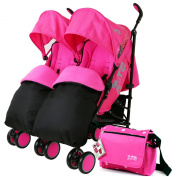 Zeta Citi TWIN Stroller Buggy Pushchair - Raspberry Pink Double Stroller Complete With FootMuffs And Bag