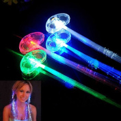 LED Colour Flashing Light Hair Extension Braid Clip Girls Party Gift Fibre x 4