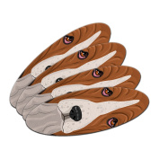 Basset Hound - Dog Pet Double-Sided Oval Nail File Emery Board Set 4 Pack