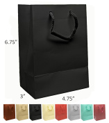 Novel Box® Black Matte Laminated Euro Tote Paper Gift Bag Bundle 4.75X3.25X6.75 (10 Count) + Custom NB Pouch