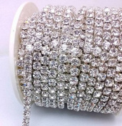 10- Yards 2mm Silver colour Close Claw Cup Crystal Rhinestone Chains Trim Crafted DIY Ideas