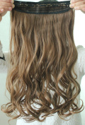 Light Brown Fashionable Popular Woman Long curl/curly/wavy Hair Extension Clip-on