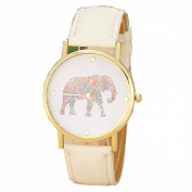 Christmas Gift for Women, Orangesky Elephant Printing Pattern Leather Watch