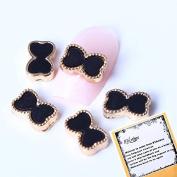 10x3D Nail Art Black Acrylic Bowtie Nail Art Design Decorations Reusable DIY Nail Art Gadgets by Ladies Beauty Box