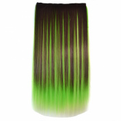 Awbin 60cm Brown Green and Yellow 3 Mixed Colour Straight Full Head Clip in Hair Extension