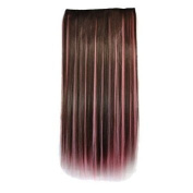 Awbin 60cm Brown Mixed Pink Colour Dip Dye Straight Full Head Clip in Hair Extension