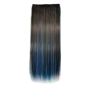 Awbin 60cm Brown Mixed Sky Blue and Dark Blue 3 Colour Dip-dye Straight Full Head Clip in Hair Extension